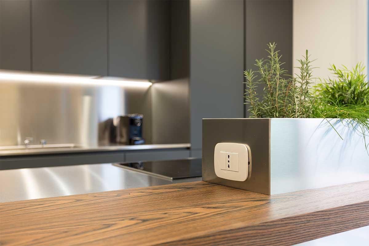cucina moderna legno acciaio