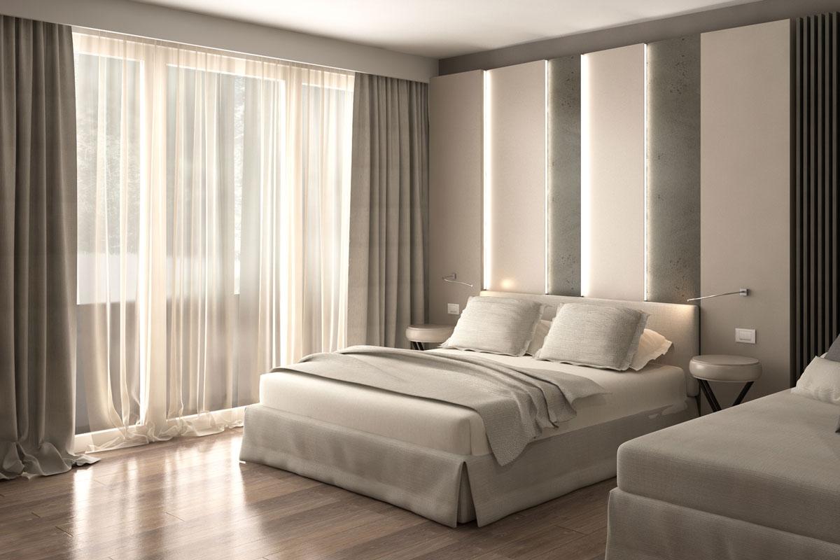 progetto 3d camera hotel
