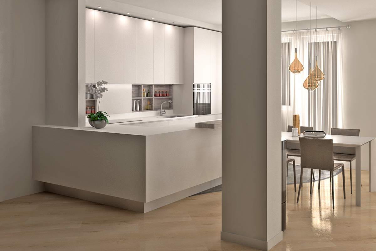 render cucina stile minimal